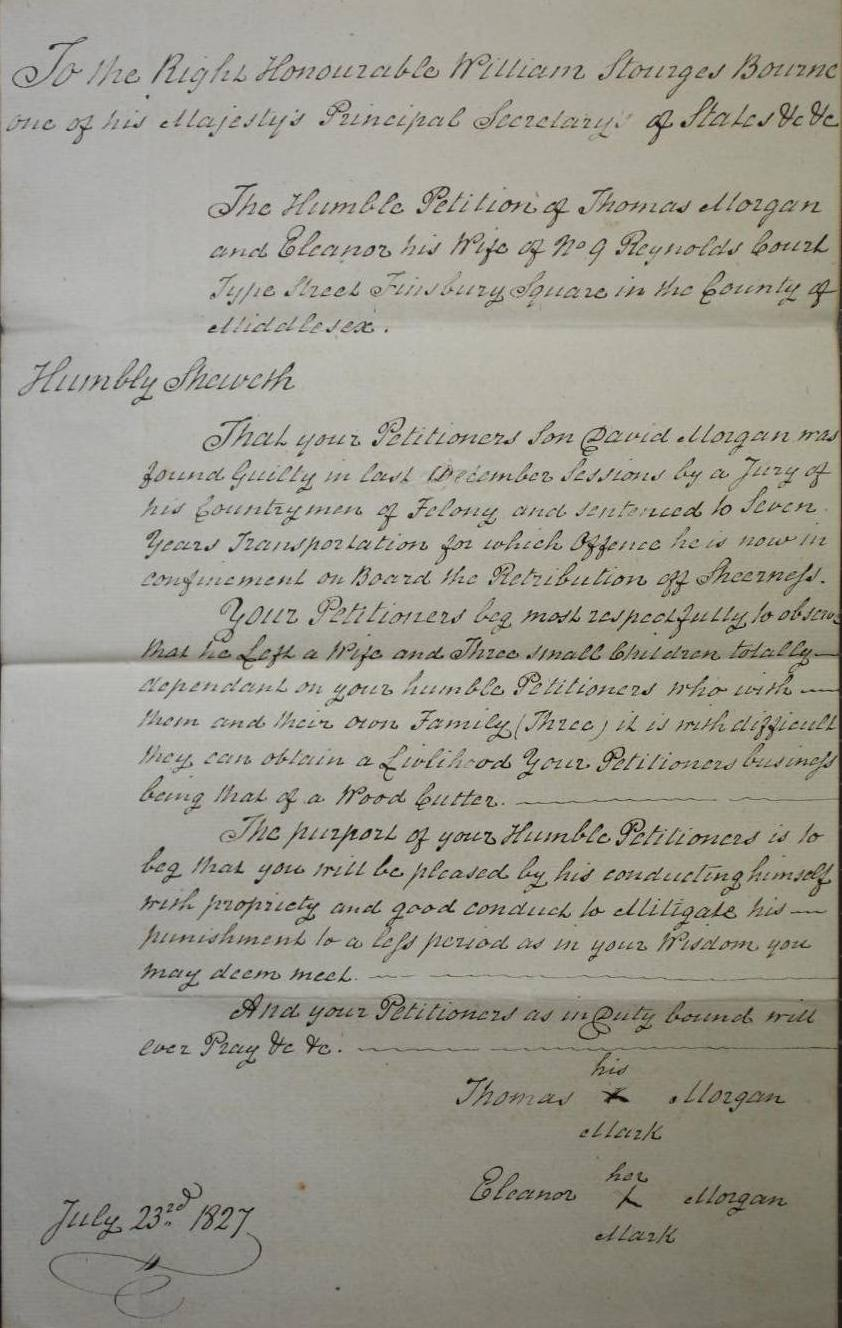 Petition on behalf of David Morgan (catalogue reference: HO 17/67/127)