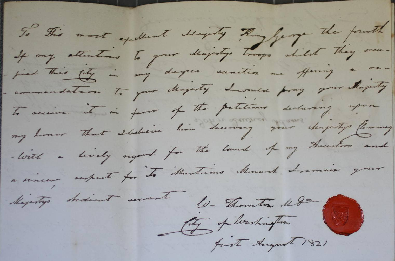 Letter from William Thornton of Washington, USA, in Alexander Kershaw's petition (catalogue reference: HO 17/34/23)
