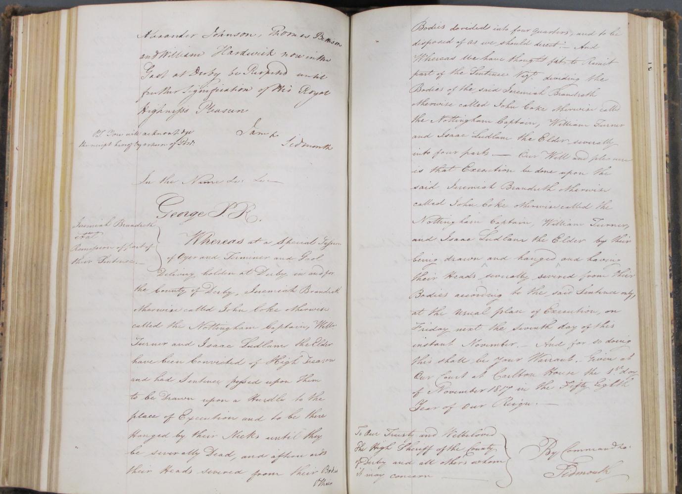 Warrant for Ludlam, Turner and Brandreth's execution, 1 November 1817 (catalogue reference: HO 79/10)