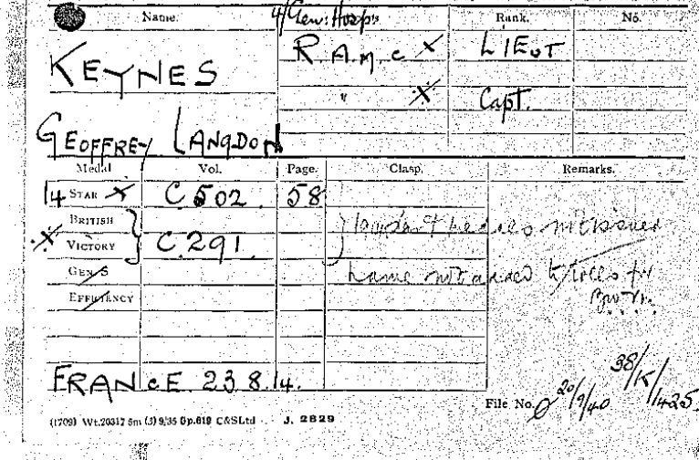 Medal card for Geoffrey Keynes (catalogue reference: WO 372/11/152014)