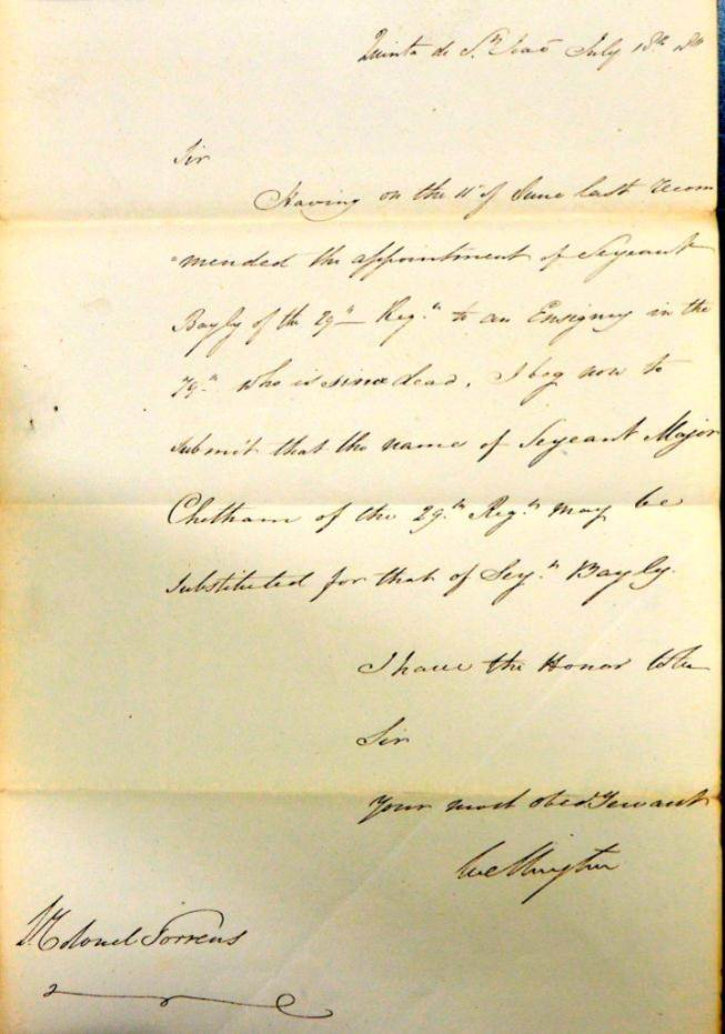 WO 31/328: Letter from Wellington granting 1st commission