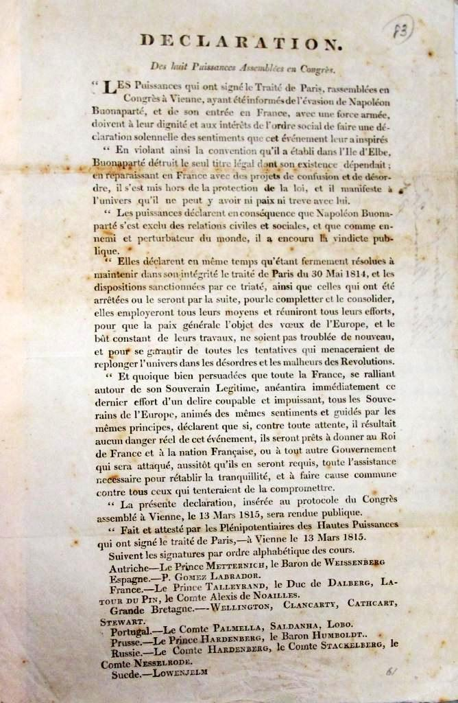 Declaration of the Allies at Vienna regarding the return of Napoleon (catalogue reference: WO 37/12/10)