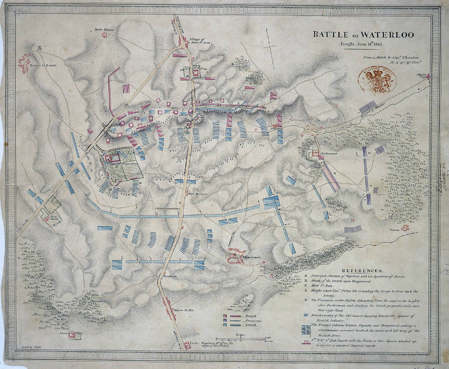 Map of the battle from a sketch by British officer, Captain Thornton, Royal Engineers, 1815 (catalogue reference: WO 78/1006/25)