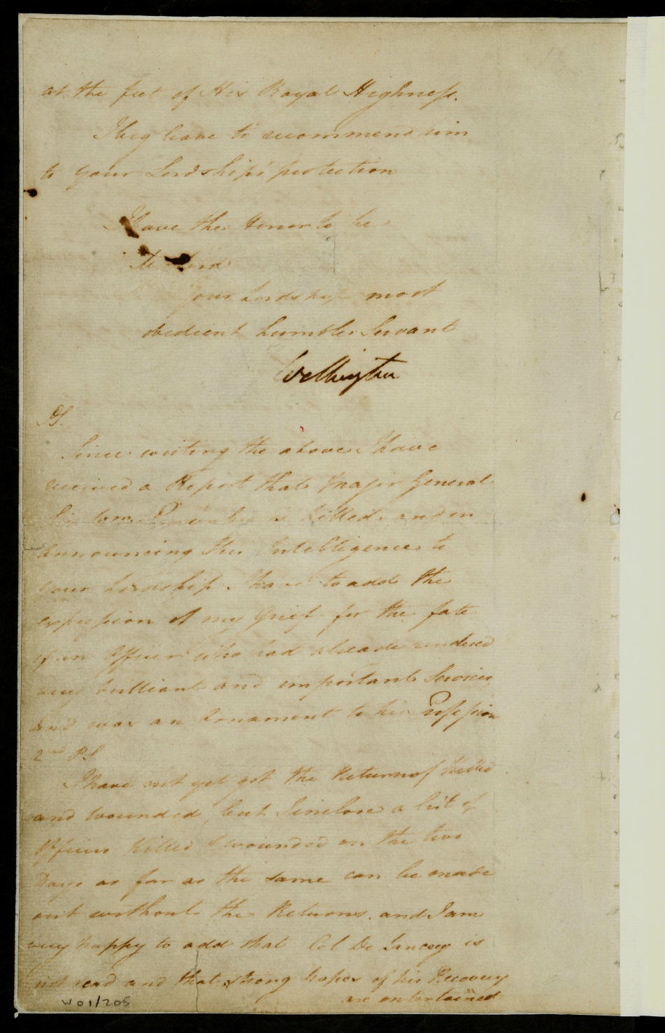Final page of the Duke of Wellington's account of the Battle of Waterloo, dated 19 June 1815, to Earl Bathurst, the Secretary of State for War (catalogue reference: WO 1/205/2)