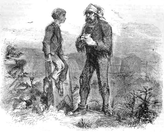Great Expectations, You young dog, said the man, Pip and Magwitch on the marshes, by John McLenan (Harper's Weekly Illustrations 1860)