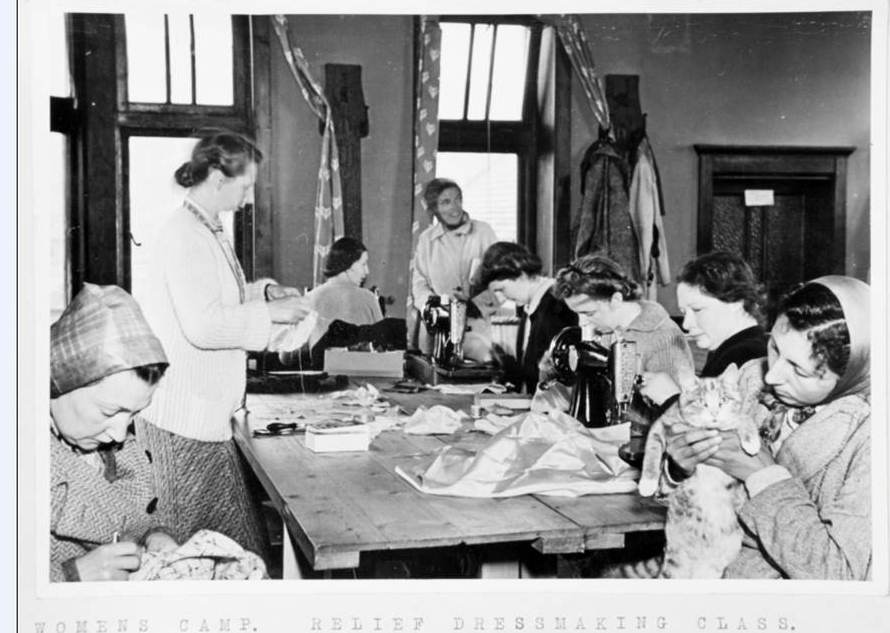 HO 213/1053: Women, children and married couples interned on the Isle of Man: report by Inspector Cuthbert, 1940-45, includes a photograph album of a Women's camp on the Isle of Man – here is a glove making industry