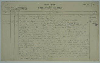 Page from the 1 Battalion Newfoundland Regiment war diary, 1917. Cat ref: WO 95/2308/1