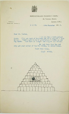 Suggested erection of a cairn memorial of Newfoundland Forestry operations, 1918. Cat ref:  BT 71/4/77699