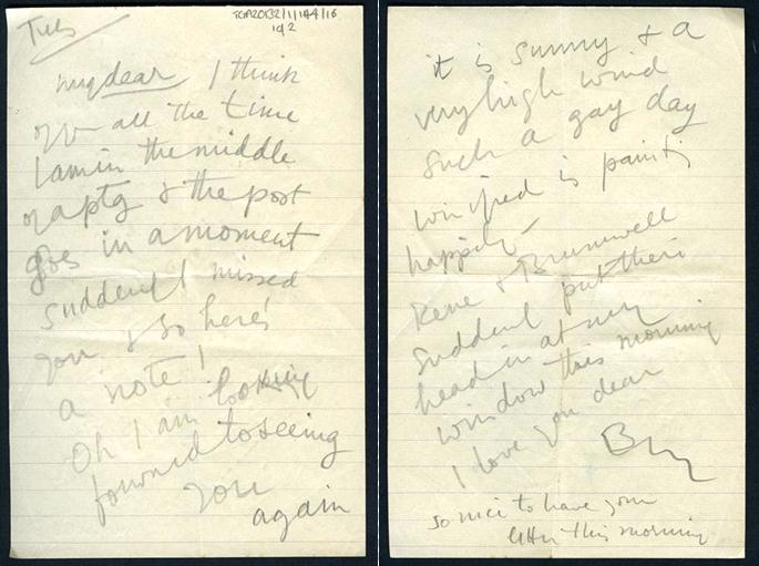 Letter from Ben Nicholson to Barbara Hepworth (c 1930s). Document reference: TGA 20132/1/144/16, Tate Archives. ©Bowness, Hepworth Estate.