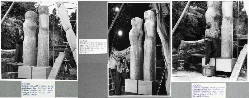 Festival of Britain photographs of Hepworth working on Contrapuntal Forms. From left to right: Document references: WORK 25/204 (2934) (2) WORK 25/204 (2821) (3) WORK 25/204 (2822), The National Archives.