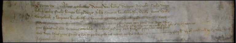 Record of payment made from the Exchequer to Albrico Mailmaker and 11 other armourers (catalogue reference E 101/45/5 m11)