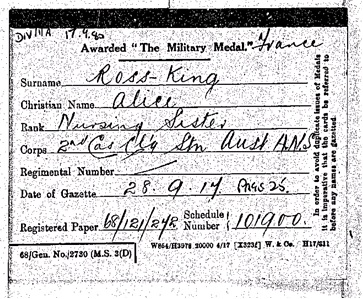 Medal card for Alice Ross-King awarded the Military Medal in 1917 (Catalogue reference: WO 372/23/161659)