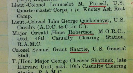 Entry from 18 July 1919 in WO 388/1/5 showing award to Oswald Hope Robertson