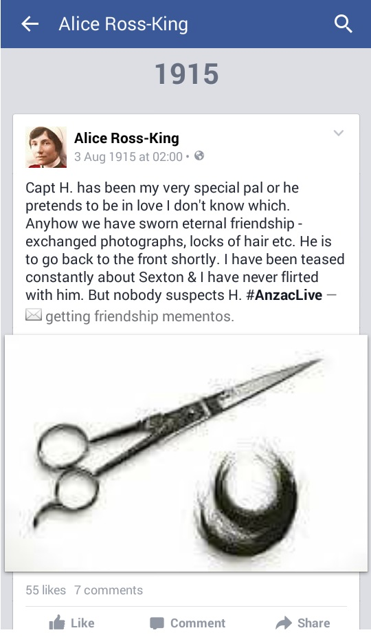AnzacLive: Alice Ross- King, entry from 3 August 1915, courtesy of Facebook