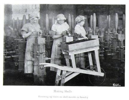 Image of captioned 'Making shells' from the government publication 'Women's War Work' (September 1916).  Reference: MH 47/142/1