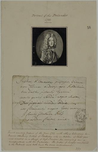 Portrait of James III 1722, Cat ref: SP 35/40 f58