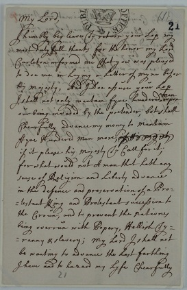 Letter from the Earl of Glasgow, 1 September 1715 (catalogue reference SP 54/8/9)
