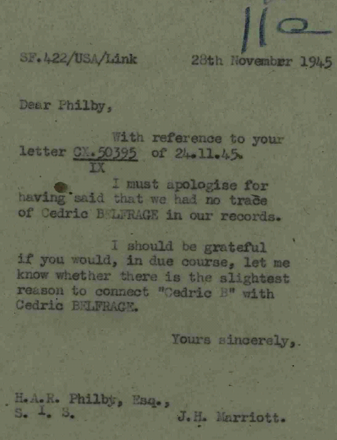 Letter to Kim Philby regarding Cedric Belfrage (catalogue reference: KV 2/4004)