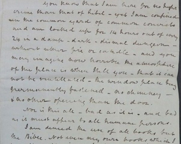 Charles Carus Wilson describing his imprisonment (catalogue reference: HO 17/33/109)