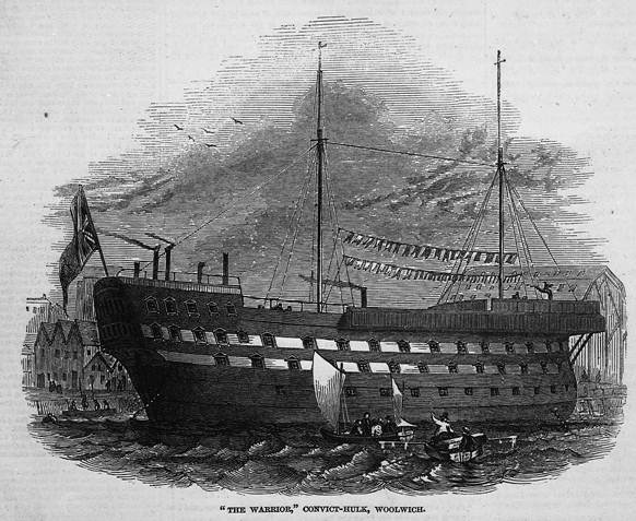Convict hulk 'Warrior' at Woolwich 1846 (catalogue reference: ZPER 34/8)