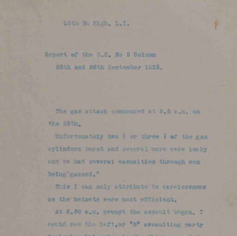 Report from Captain Torrance, 12 Battalion Highland Light Infantry which includes some of the difficulties experienced in the British gas attack of 25 September 1915 at Loos (catalogue reference: WO 95/1952/2)