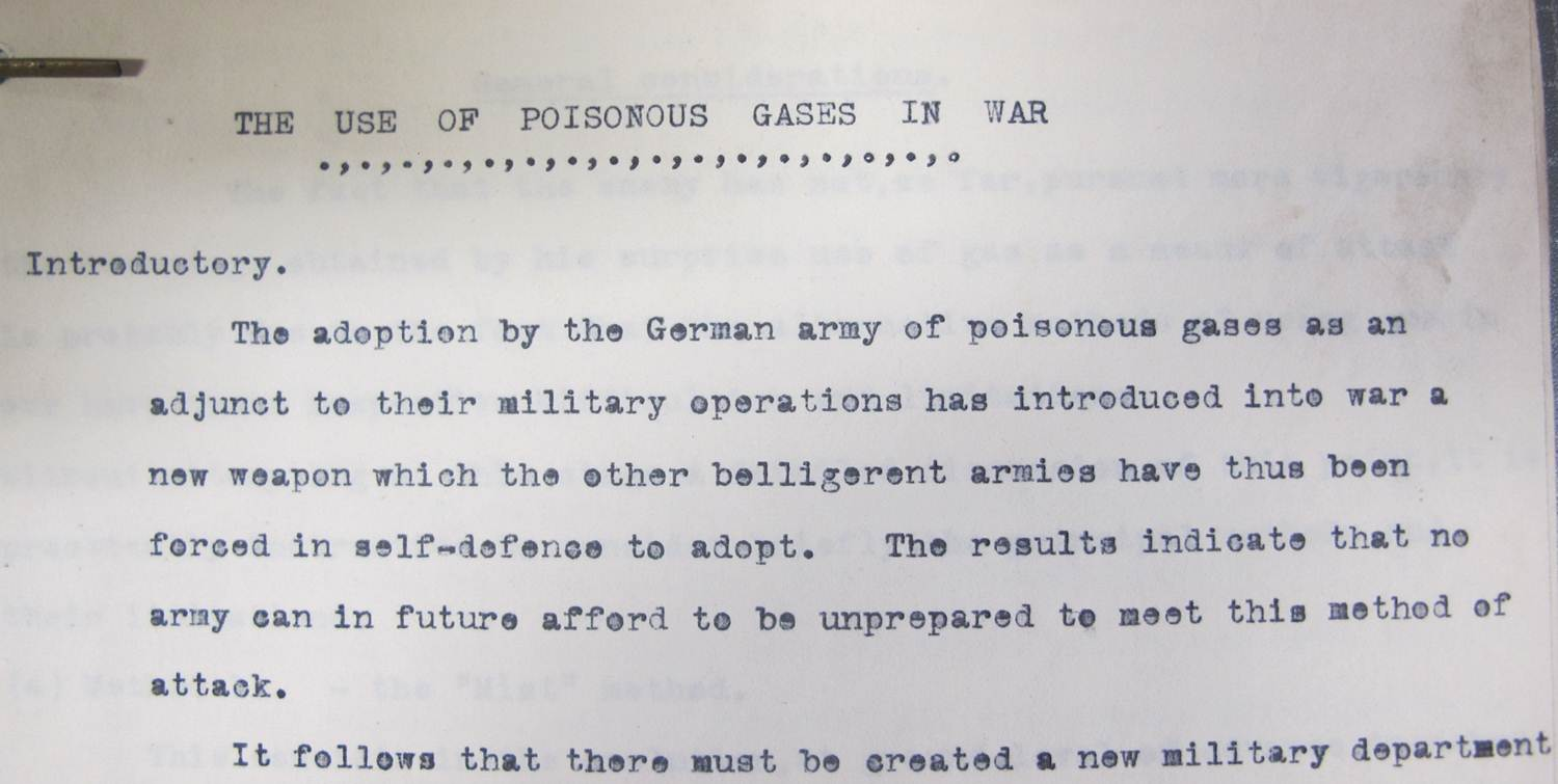 Opening paragraph from The Use of Poisonous Gases in War report made by the Royal Army Medical College in June 1915 (catalogue reference: WO 142/183)