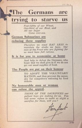 A Ministry of Food pamphlet urging reduced food consumption in war time (catalogue reference: NSC 7/37)