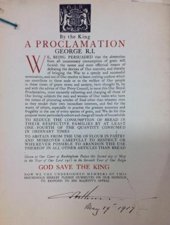 Royal Proclamation from 1917 encouraging the population to eat less bread (catalogue reference: NSC 7/37)