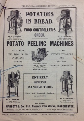 Advertisment from potato peeling machines made by the Manchester firm Mabbott (catalogue reference: NSC 7/37)