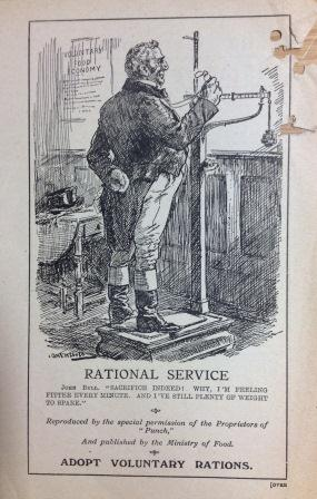 A  Ministry of Food pamphlet from 1917 using the image of a dieting John Bull to encourage voluntary rationing (catalogue reference: NSC 7/37)
