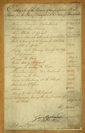 RAIL1148/1 (6) Estimate of the cost of building the Liverpool to Manchester railway George Stephenson 5 February 1825