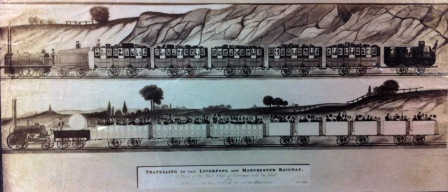 Drawing of the first Liverpool and Manchester railway trains (catalogue reference: COPY 1/374/31)