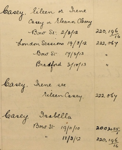 Eileen and Isabella Casey's entry on the Home Office list (catalogue reference HO 45/24665)