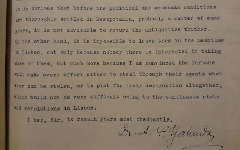 Yahuda to the Foreign Office, 15/07/1919 (catalogue reference: FO 371/4175)
