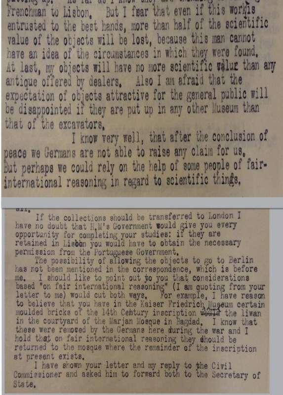 Andrae to Bell, 31/01/1920 and Bell to Andrae, 12/03/1920 (catalogue reference: FO 371/5186)