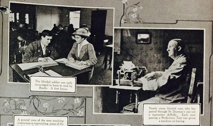Image from St. Dunstan's annual report, showing training in progress, 1929 (catalogue reference: PIN 15/1061)