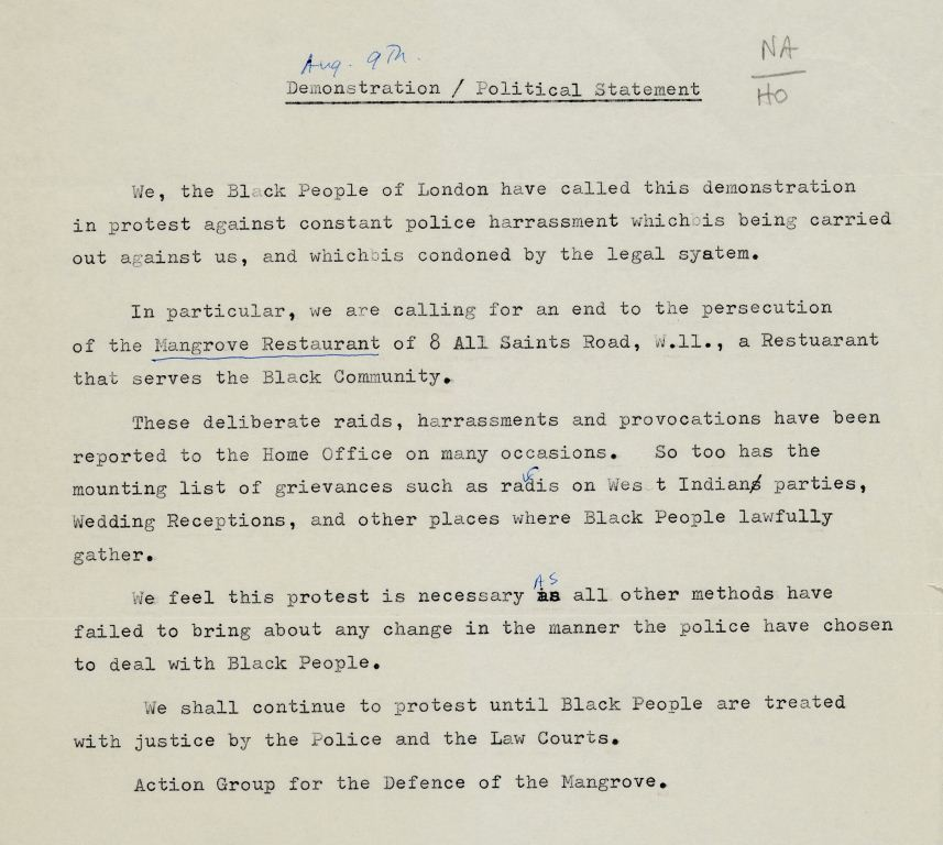 Political statement, 12 August 1970 (catalogue reference: HO 325/143)