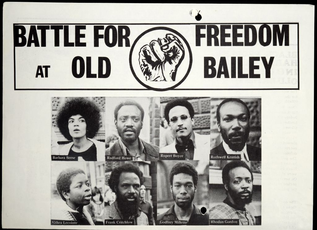 Flyer calling for justice for the Mangrove Nine,1970. In the tenth week of the trial these were distributed to black people around the court and Notting Hill to raise awareness of the case (catalogue reference: HO 325/143)