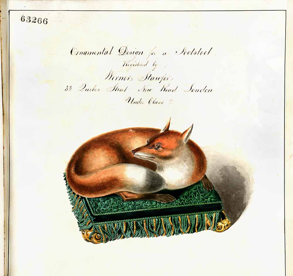 Ornamental fox footstool