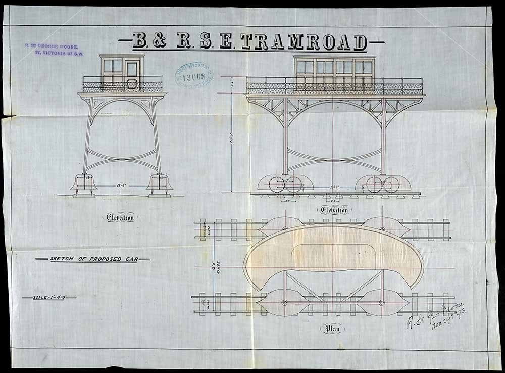 A plan of the proposed 'Brighton and Rottingdean car on stilts', 1893