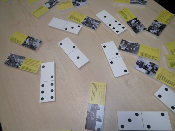 Dominos game set created with photos and stories, in workshops at the Cuming Museum, Southwark