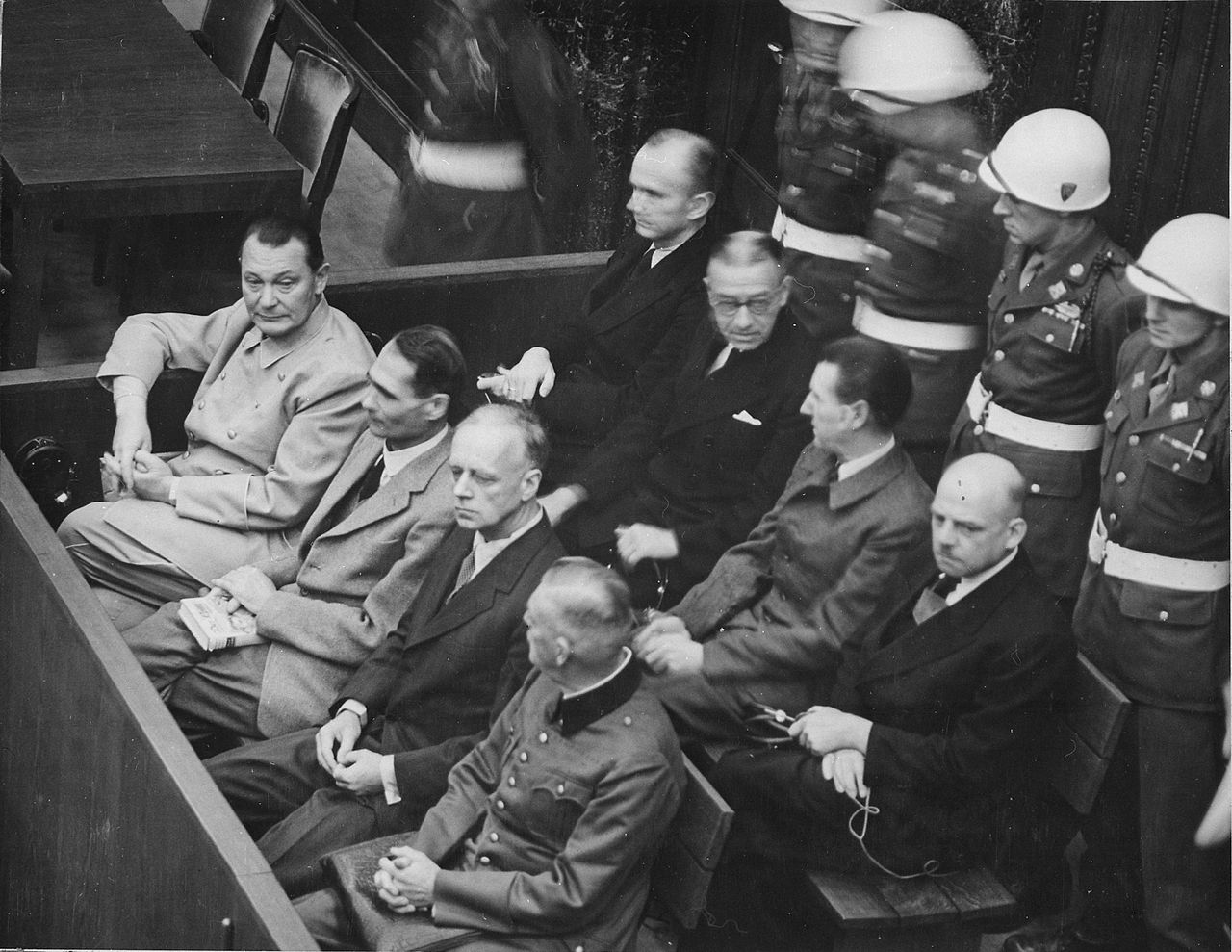 Defendants in the dock at Nuremberg (image from Wikicommons)