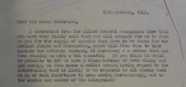 Letter from Sinclair to the Chief of Staff of the Control Commission (catalogue reference: TS 26/171)