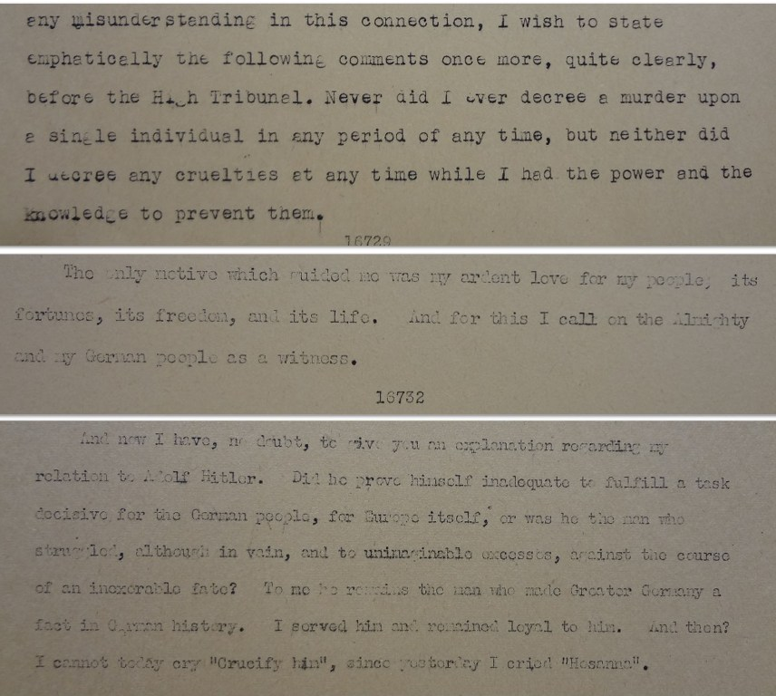 Final statements from Goering, Hess and Seyss-Inquart (catalogue reference: FO 371/57517)