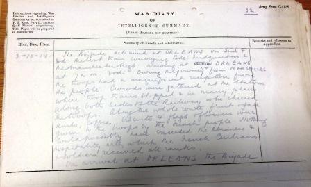 War Diary entry (catalogue reference: WO 95/3926)