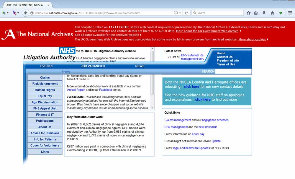 Example of display problem caused by current UK Government Web Archive banner