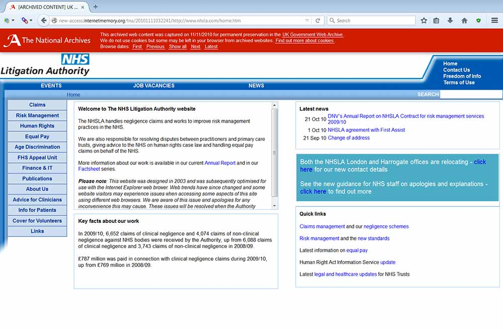 Display problem solved by proposed new UK Government Web Archive banner