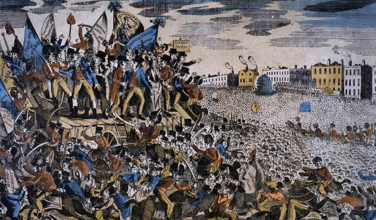 Image of The Peterloo Massacre, the forcible dispersal of a Reform Meeting in St Peter's Fields, Manchester