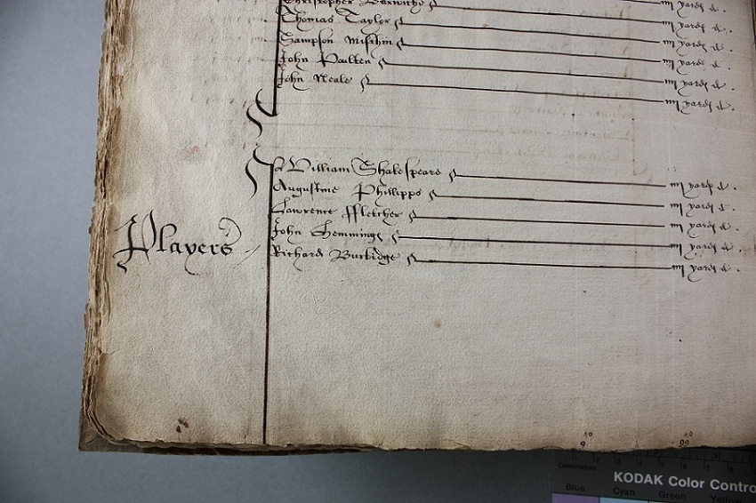 Master of the Wardrobe recording the issue of red cloth to Shakespeare (catalogue reference: LC 2/4/5)