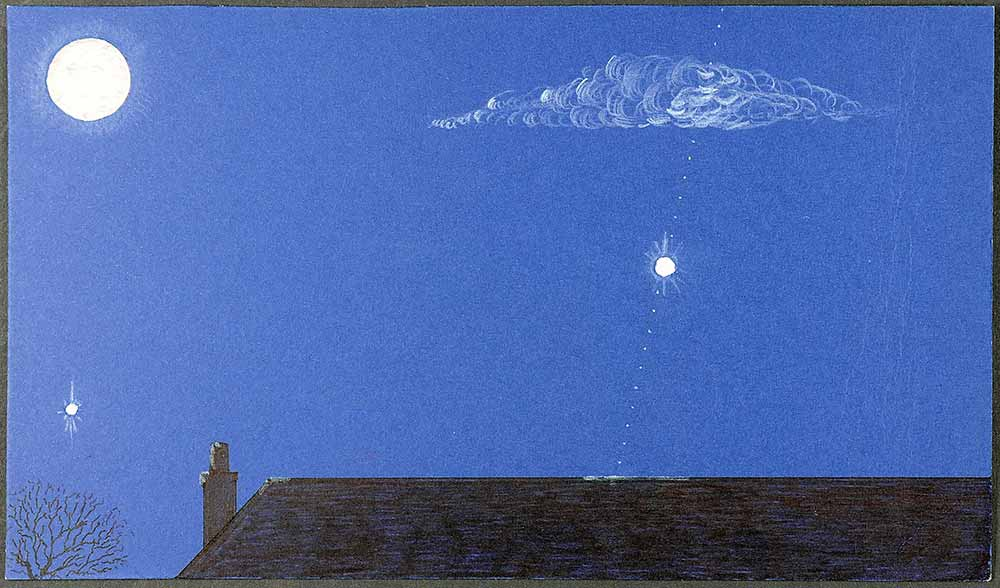 Sketch of a white UFO flying across a bright blue sky